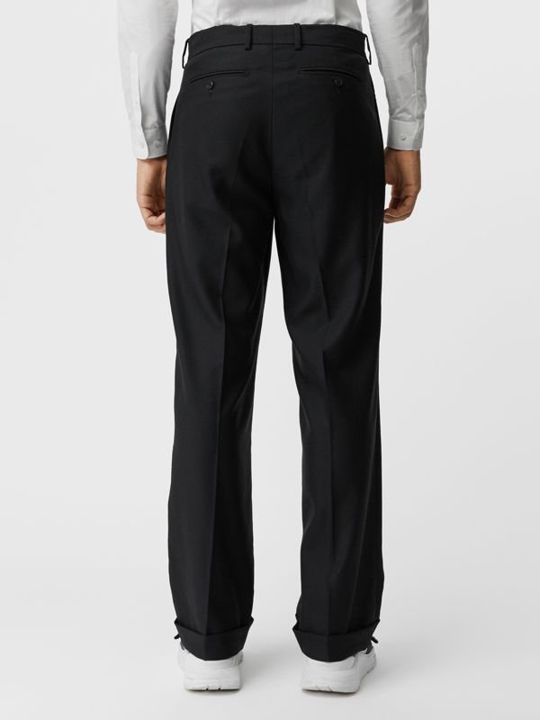 Wool Mohair Wide-leg Tailored Trousers in Black - Men | Burberry United Kingdom - cell image 2