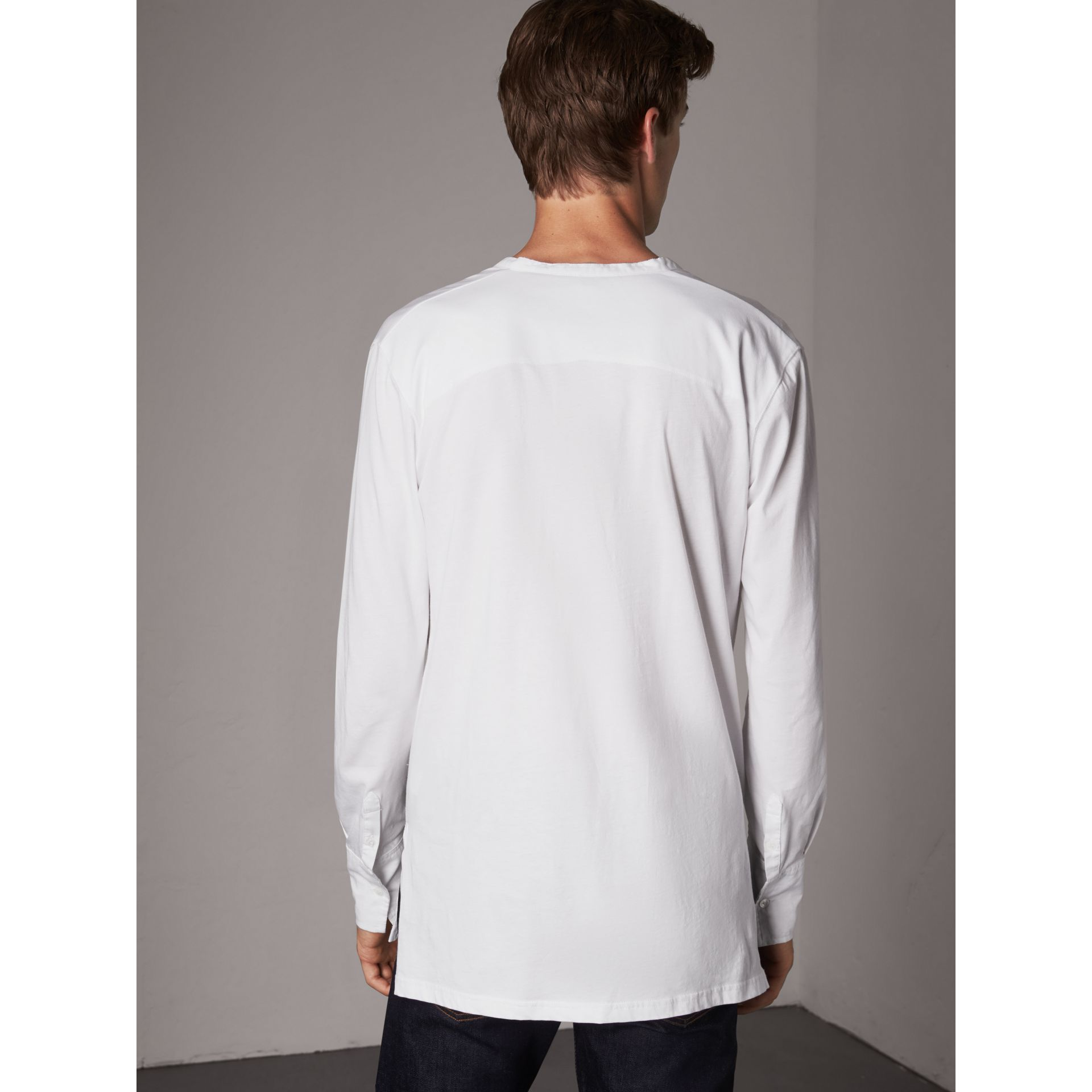Cotton Henley Top in White - Men | Burberry - gallery image 3