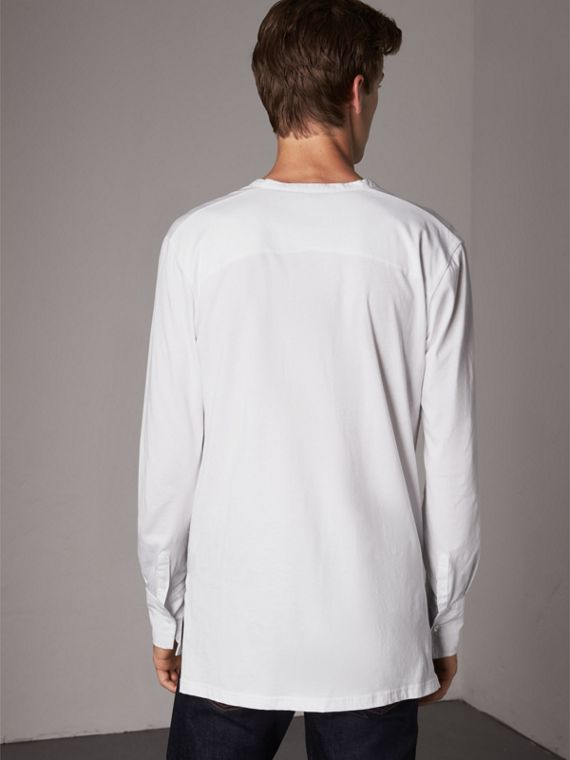 Cotton Henley Top in White - Men | Burberry - cell image 2
