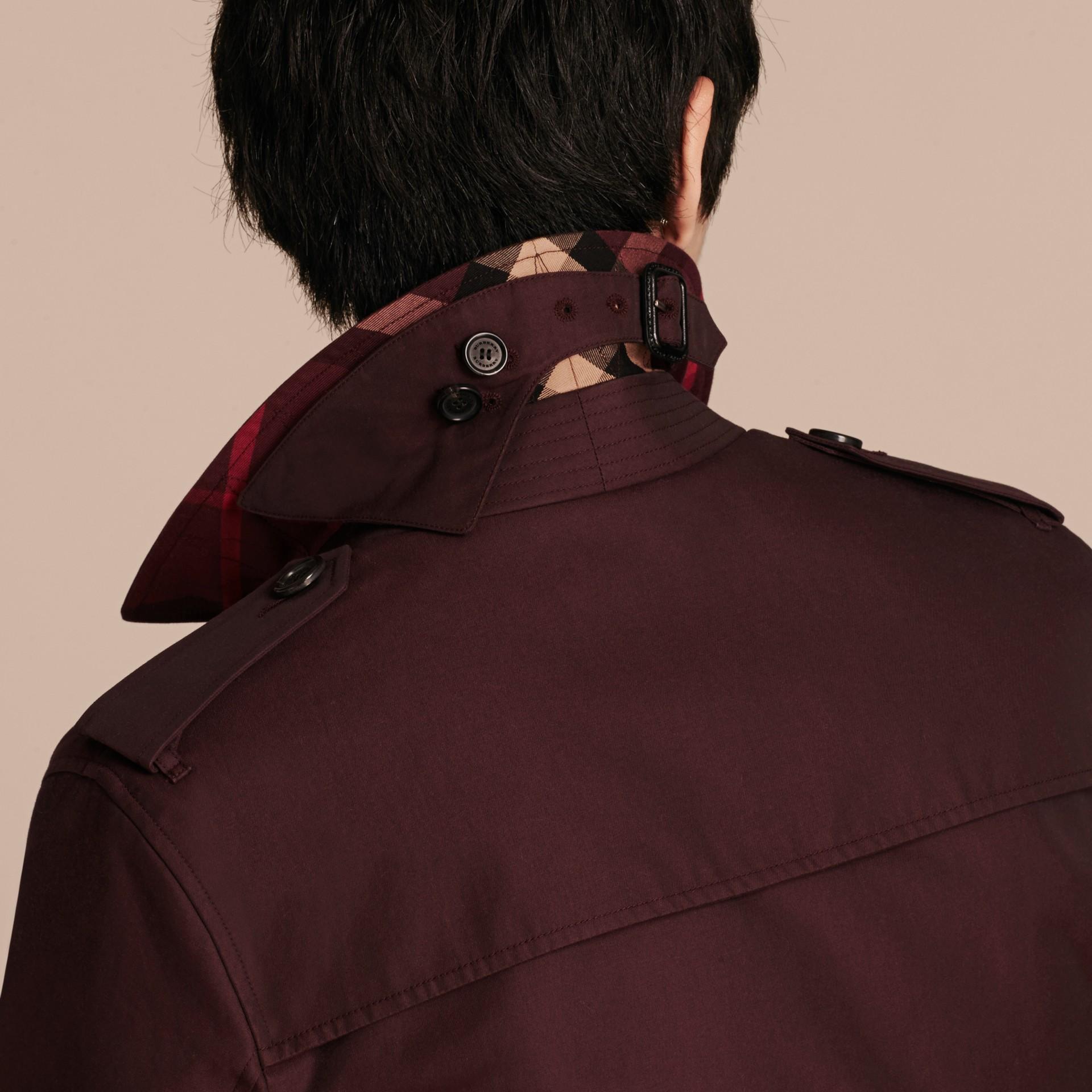 Rosso mogano Giacca in gabardine di cotone Rosso Mogano - immagine della galleria 6
