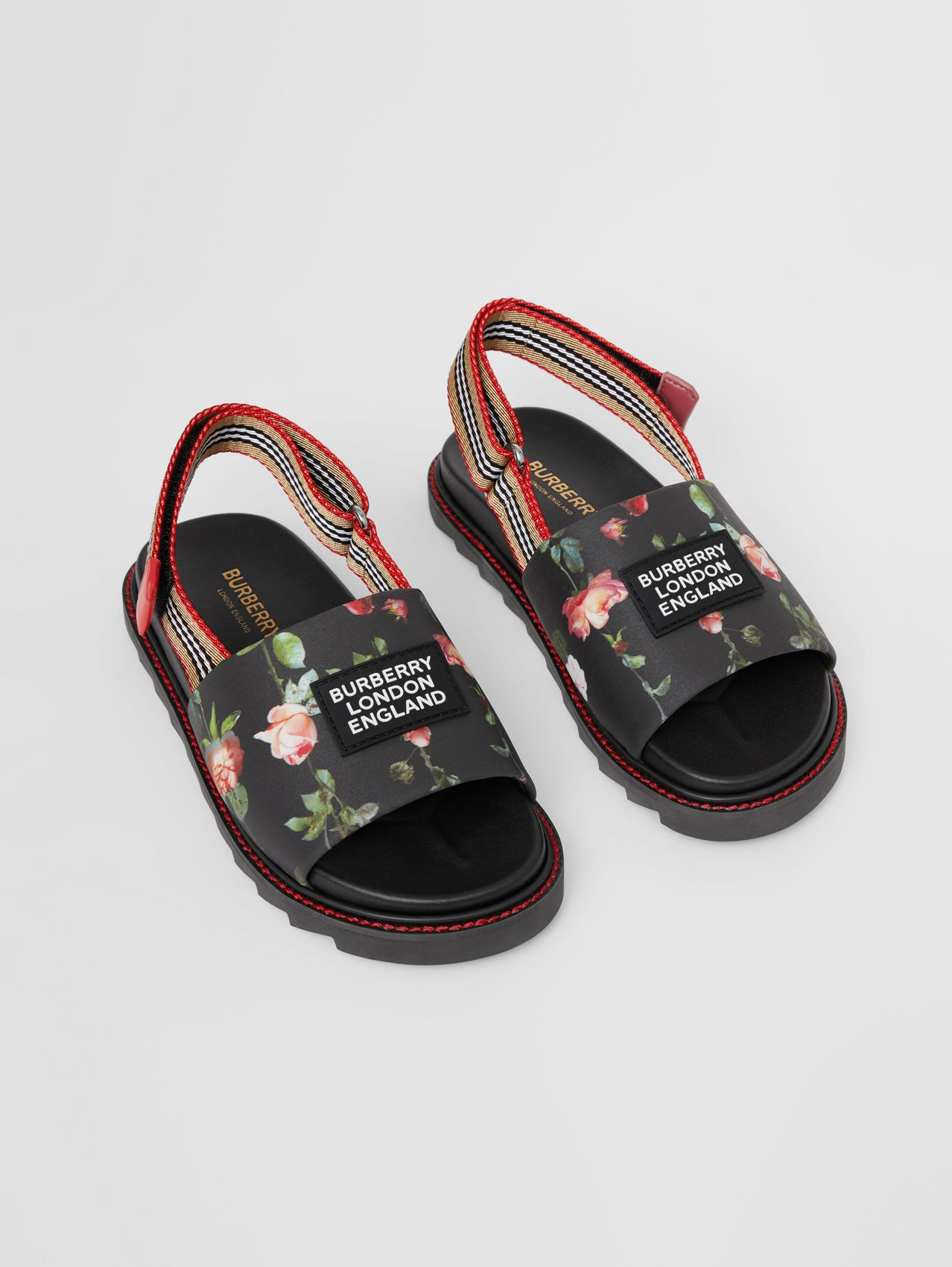 Rose Print Cotton Canvas Sandals in Black