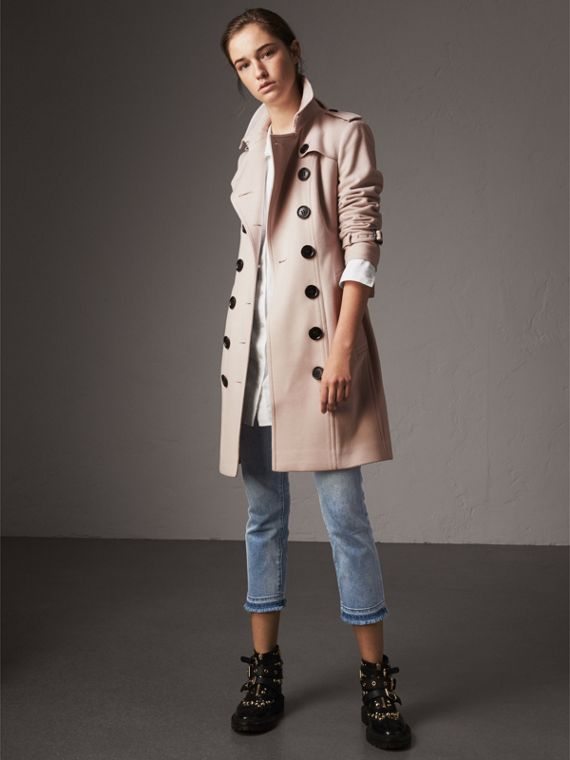 Sandringham Fit Cashmere Trench Coat in Pale Nude