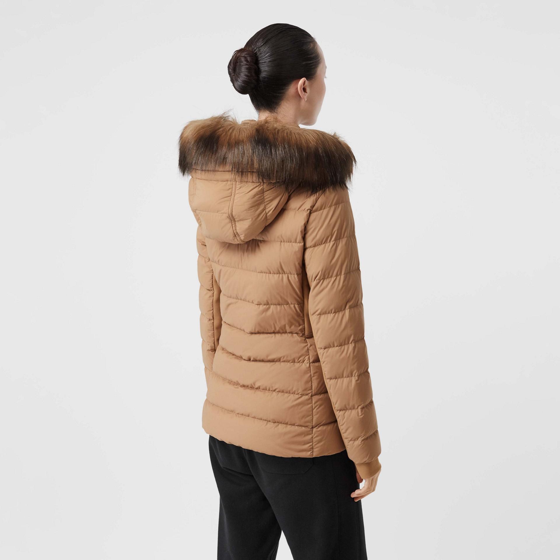 Faux Fur Trim Detachable Hood Puffer Jacket in Soft Camel - Women | Burberry United Kingdom - gallery image 2