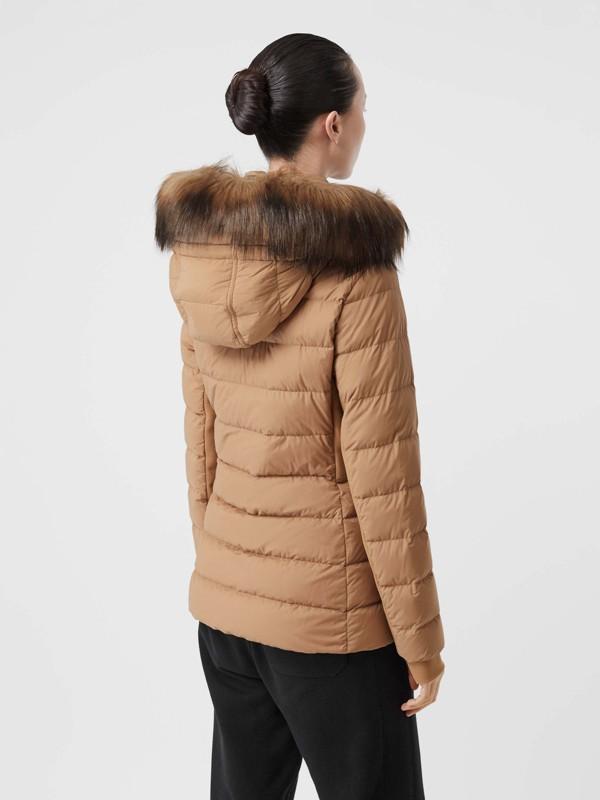 Faux Fur Trim Detachable Hood Puffer Jacket in Soft Camel - Women | Burberry United Kingdom - cell image 2