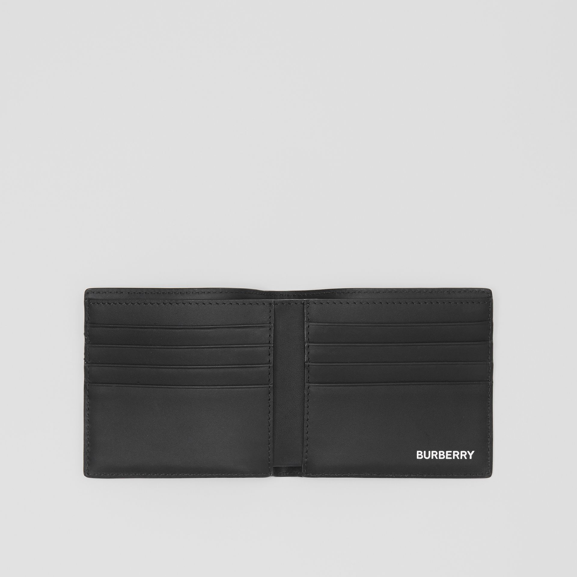 London Check and Leather International Bifold Wallet in Dark Charcoal - Men | Burberry United Kingdom - gallery image 2