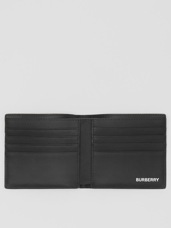 London Check and Leather International Bifold Wallet in Dark Charcoal - Men | Burberry United Kingdom - cell image 2