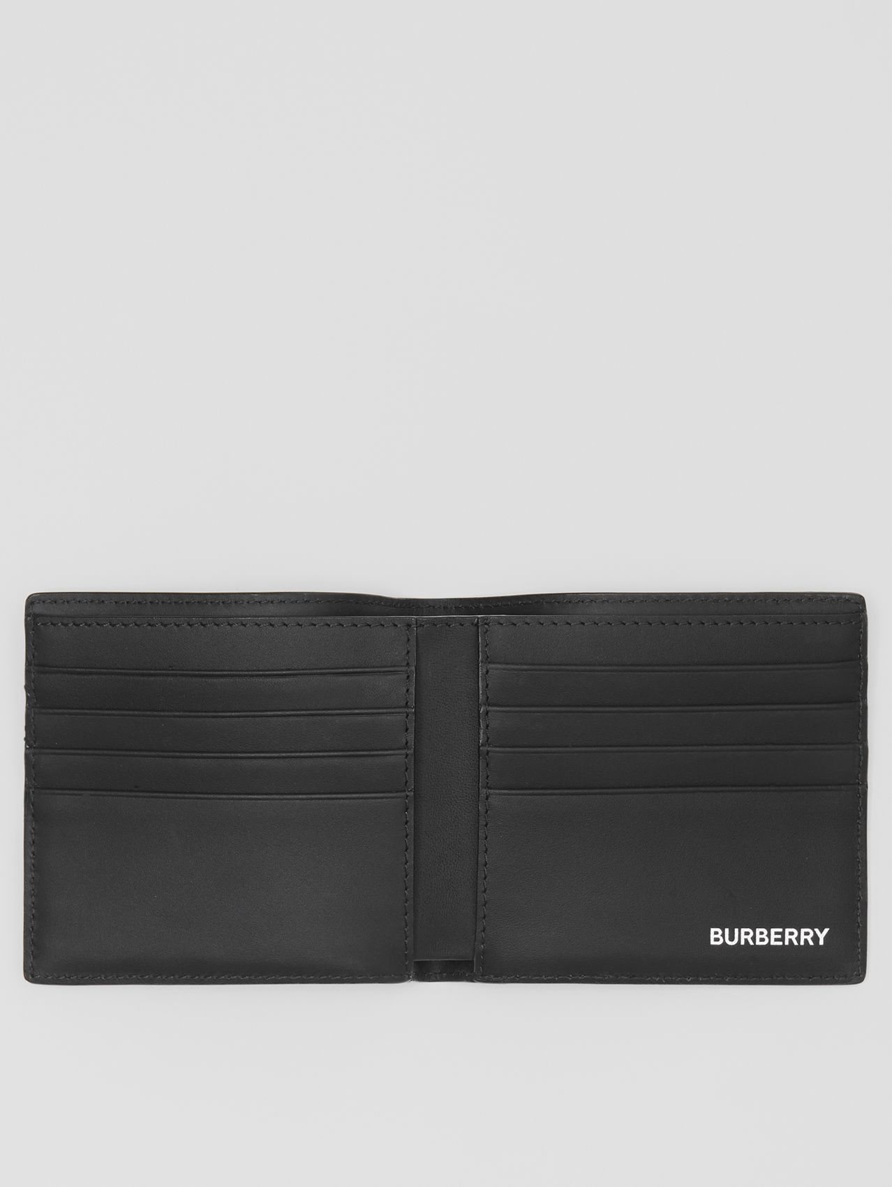 London Check and Leather International Bifold Wallet in Dark Charcoal
