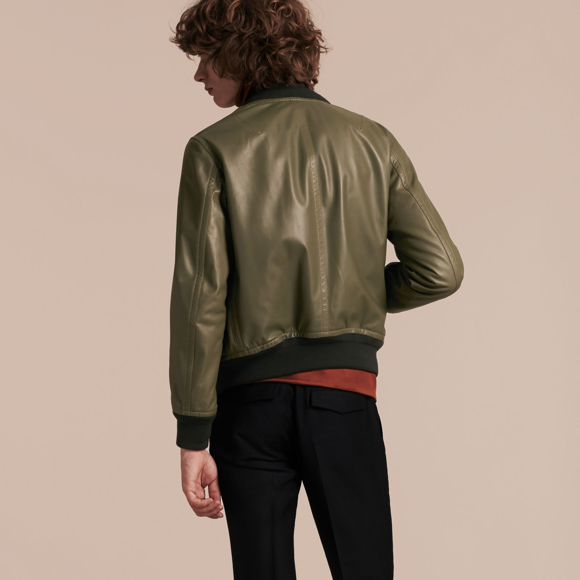 Light military green Lambskin Bomber Jacket - gallery image 3
