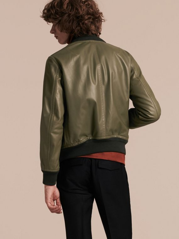 Light military green Lambskin Bomber Jacket - cell image 2