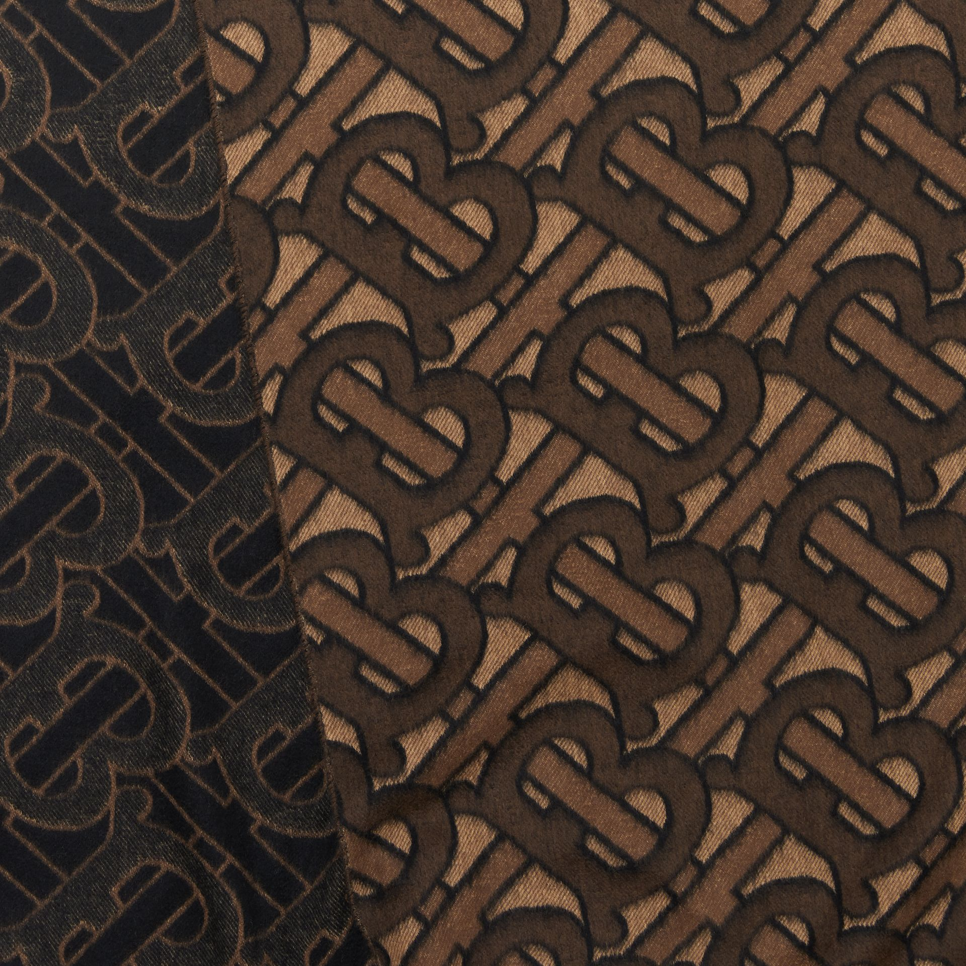 Monogram Cashmere Jacquard Scarf in Dark Mocha | Burberry - gallery image 1