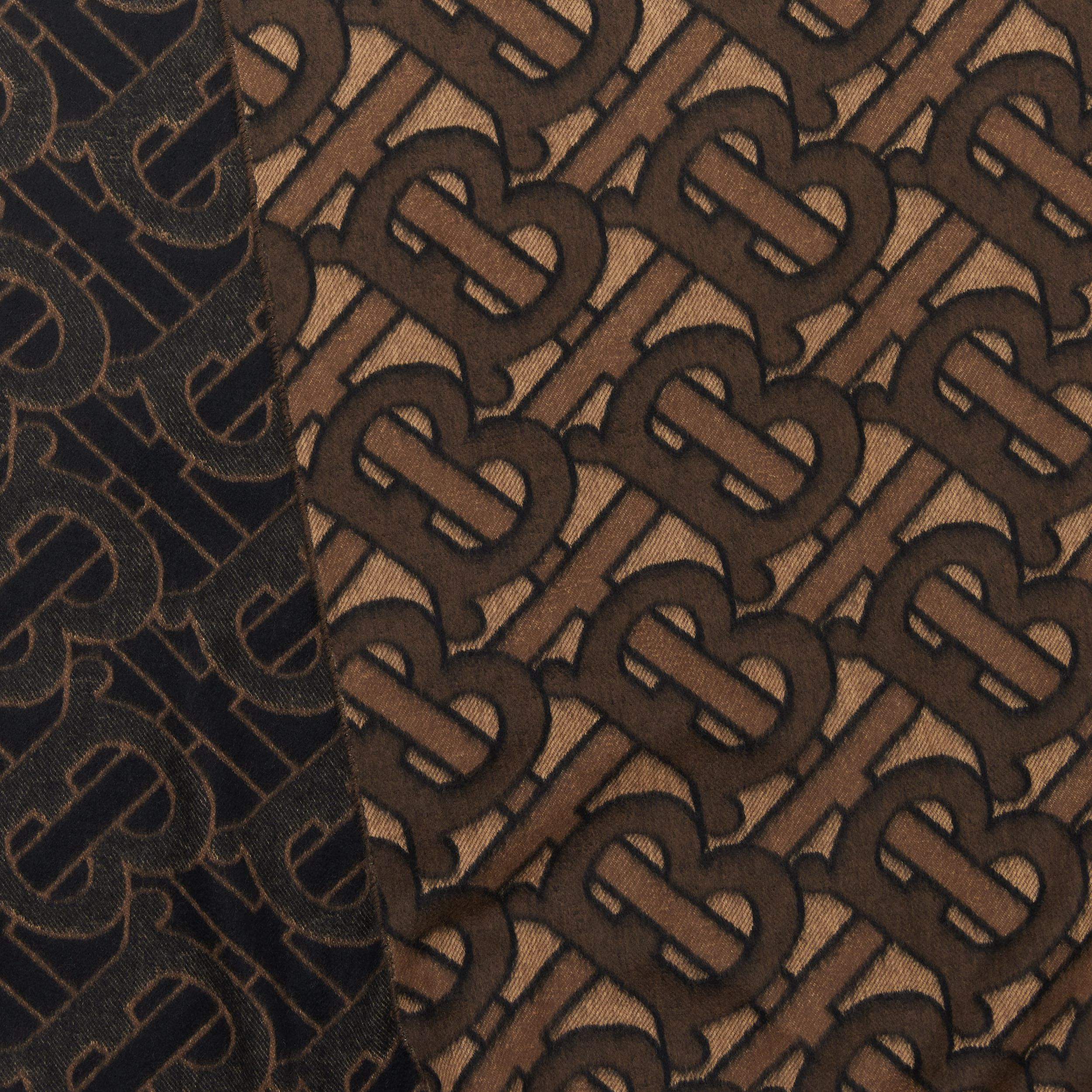 Monogram Cashmere Jacquard Scarf in Dark Mocha | Burberry Hong Kong S.A.R. - 2