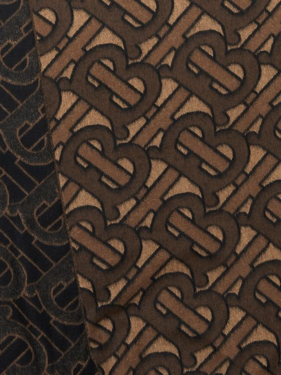 Monogram Cashmere Jacquard Scarf in Dark Mocha | Burberry - cell image 1