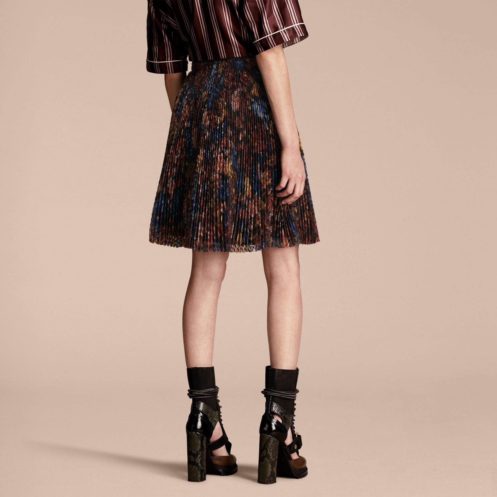 Garden Floral Print Pleated Technical Organza Skirt - gallery image 3