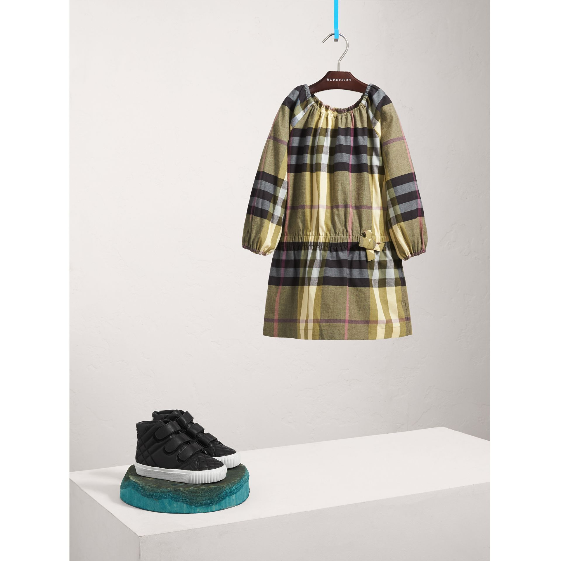 Gathered Check Cotton Flannel Dress in Pale Powder Green - Girl | Burberry - gallery image 0