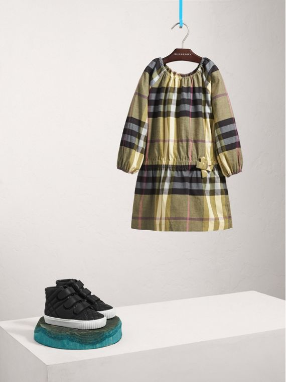 Gathered Check Cotton Flannel Dress in Pale Powder Green