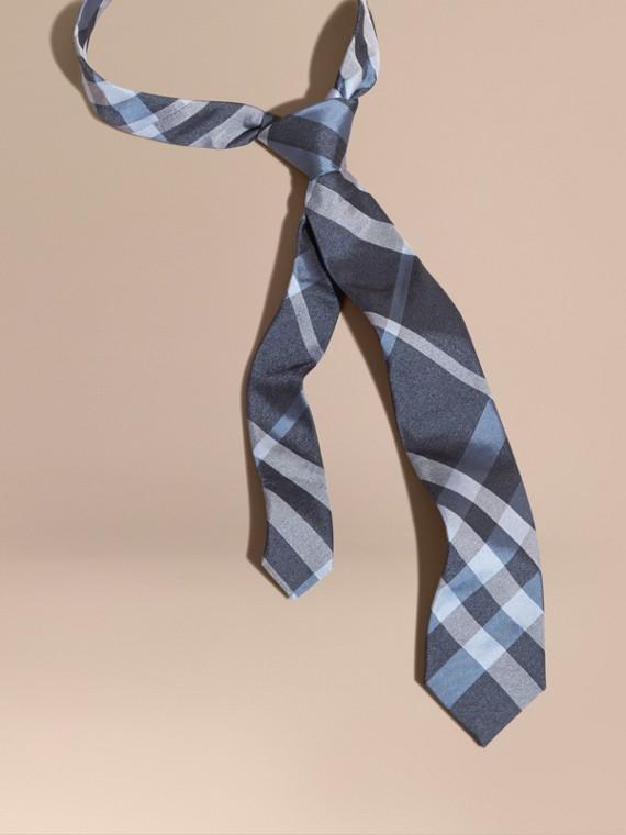 Cravatta dal taglio moderno in seta jacquard con motivo check Indaco
