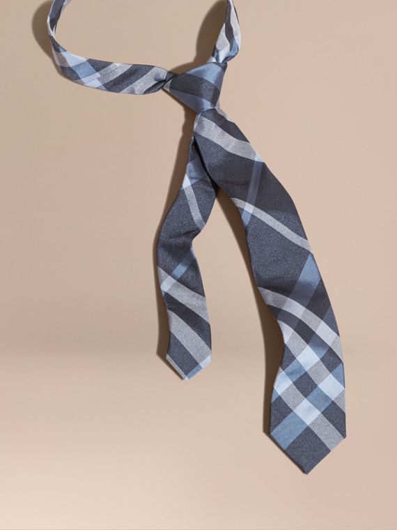 Modern Cut Check Jacquard Silk Tie Indigo
