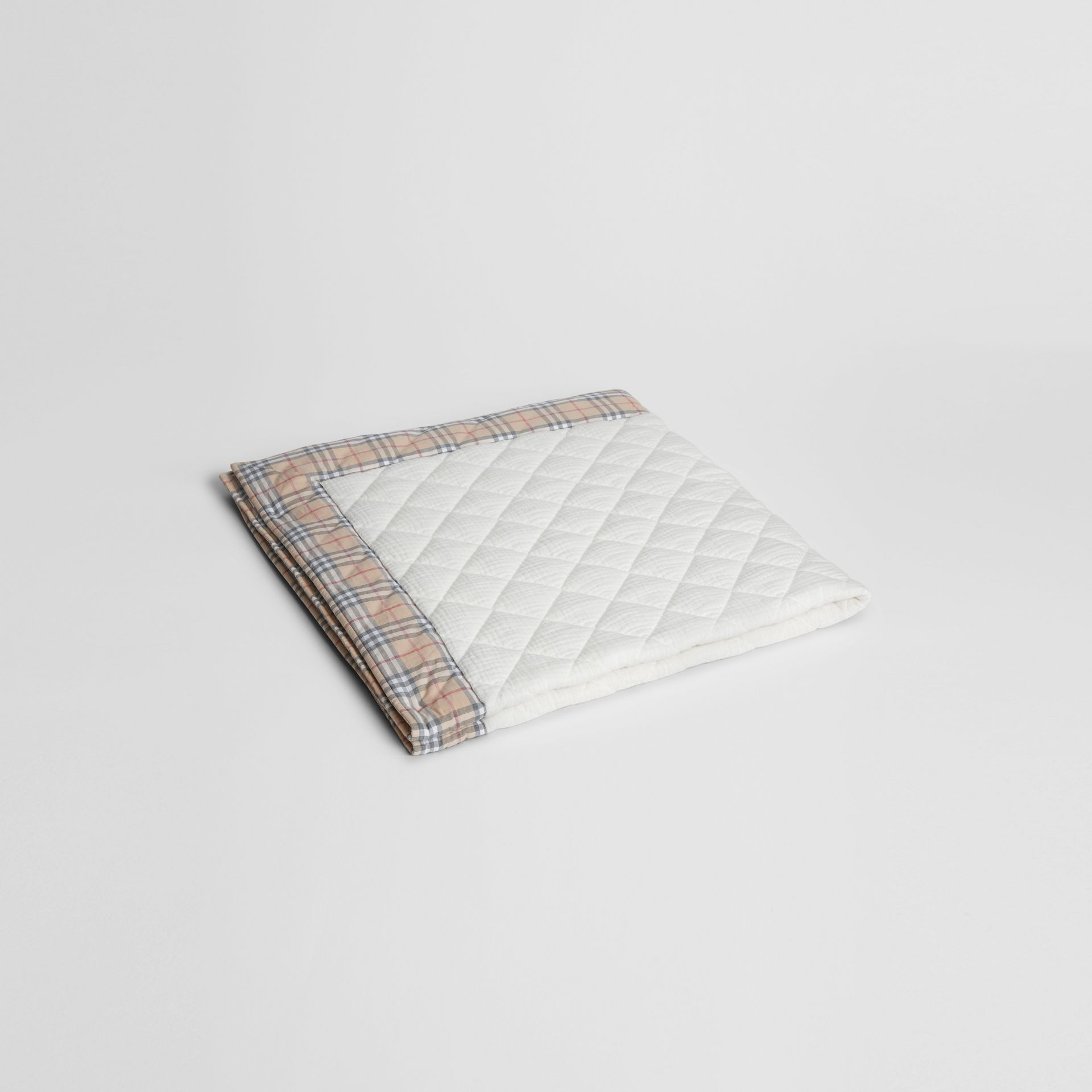 Diamond Quilted Vintage Check Cotton Baby Blanket in White - Children | Burberry United Kingdom - gallery image 0