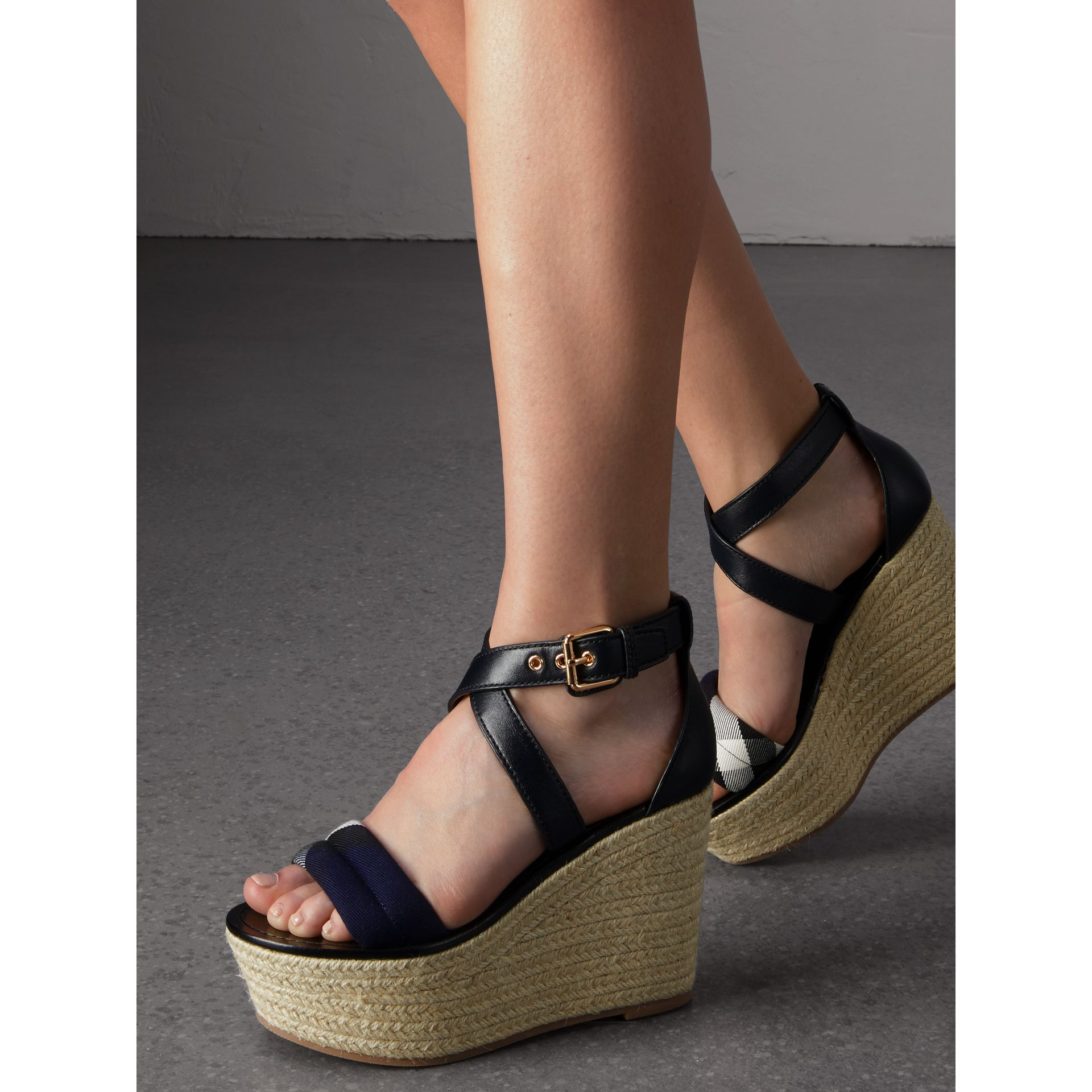 Leather and House Check Platform Espadrille Wedge Sandals in Navy - Women | Burberry - gallery image 2