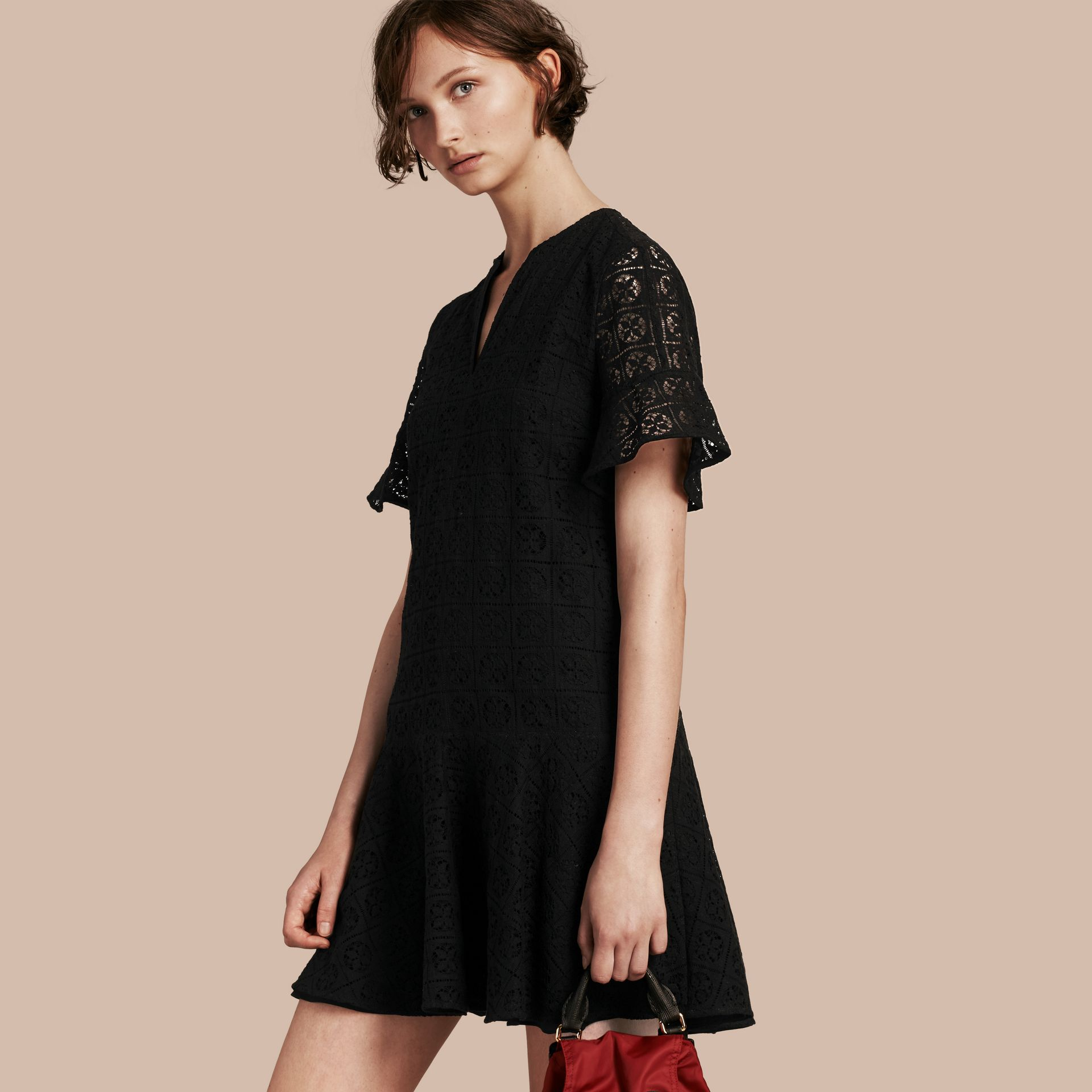 Black Lace Fit and Flare Dress - gallery image 1
