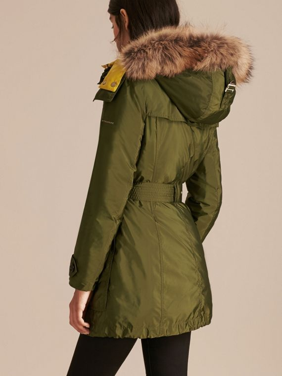 Bright moss green Fur-trimmed Parka with Detachable Down-filled Jacket Bright Moss Green - cell image 2
