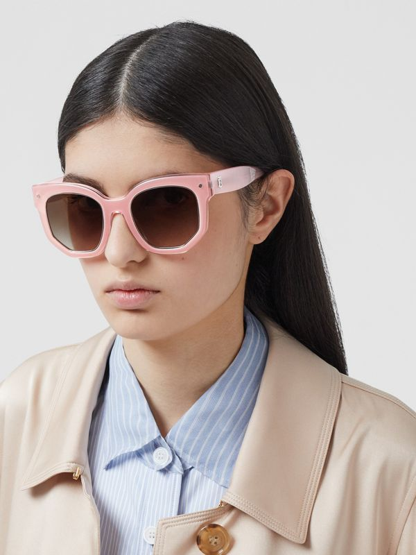 Geometric Frame Sunglasses in Pink - Women | Burberry Australia - cell image 2