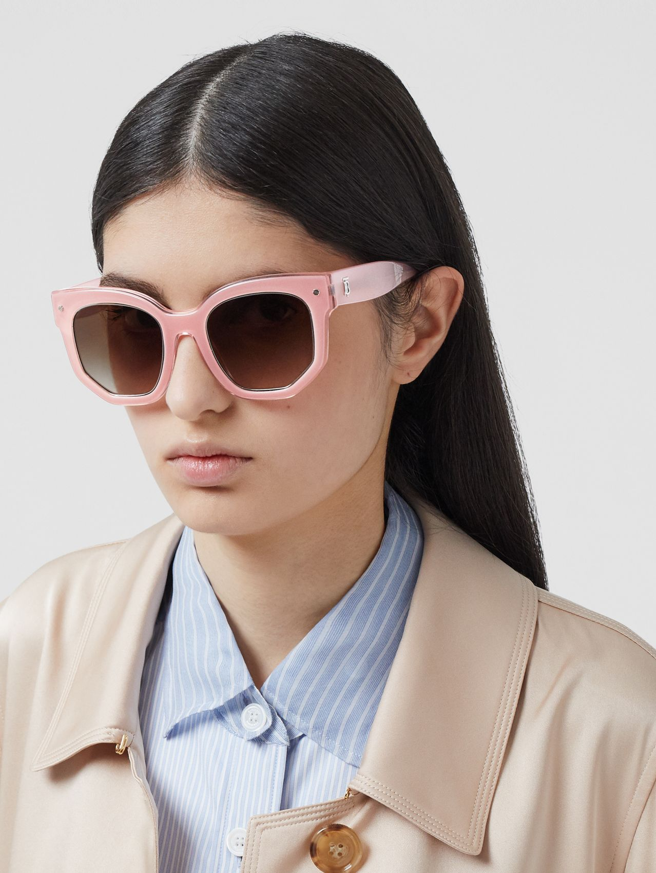 Geometric Frame Sunglasses in Pink