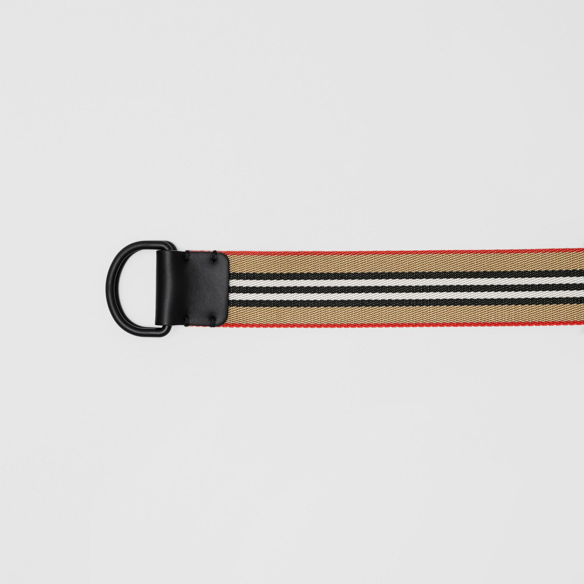 Icon Stripe Double D-ring Belt in Archive Beige - Men | Burberry - gallery image 1