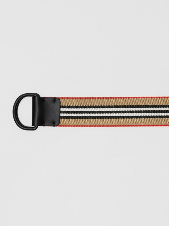 Icon Stripe Double D-ring Belt in Archive Beige - Men | Burberry - cell image 1