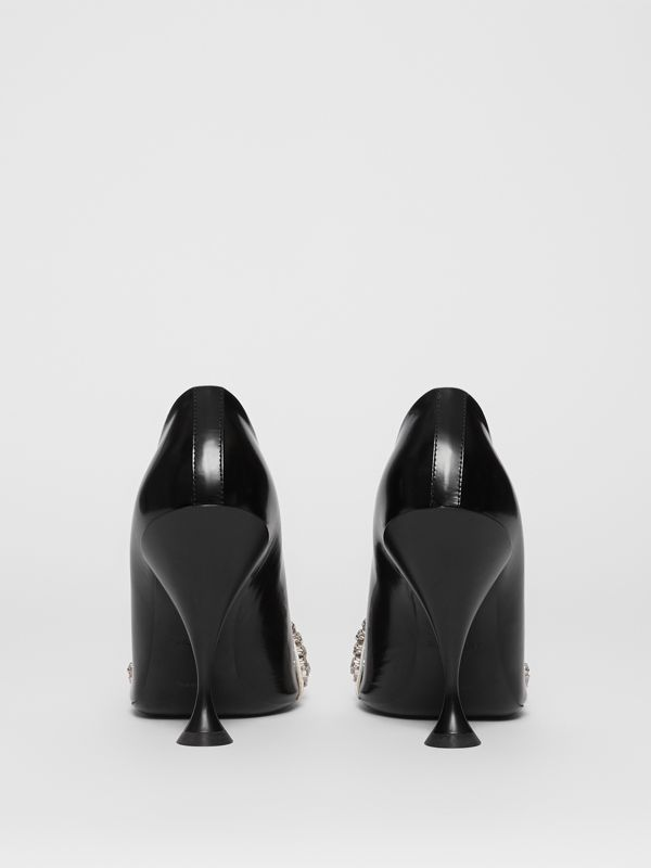 Crystal Detail Leather and Suede Point-toe Pumps in Black - Women | Burberry - cell image 3