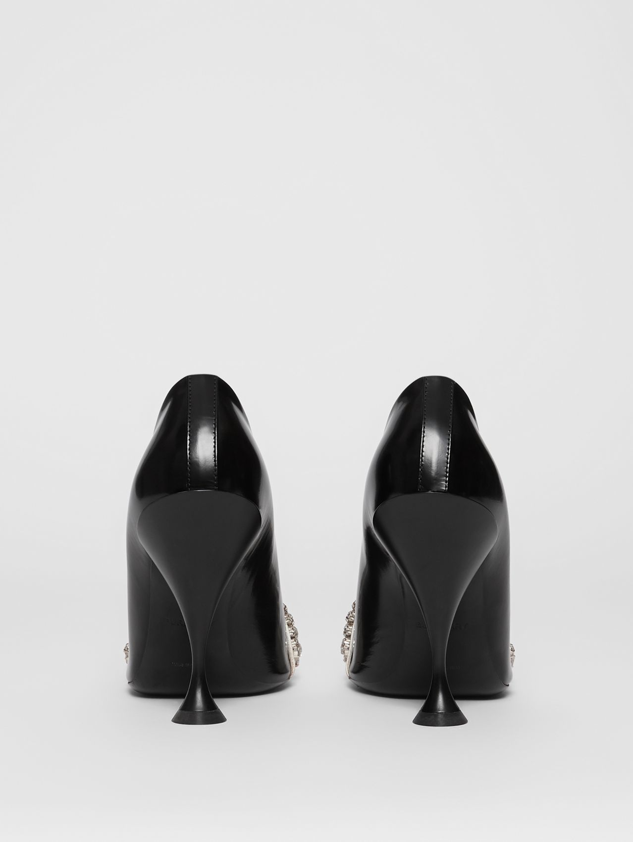 Crystal Detail Leather and Suede Point-toe Pumps in Black