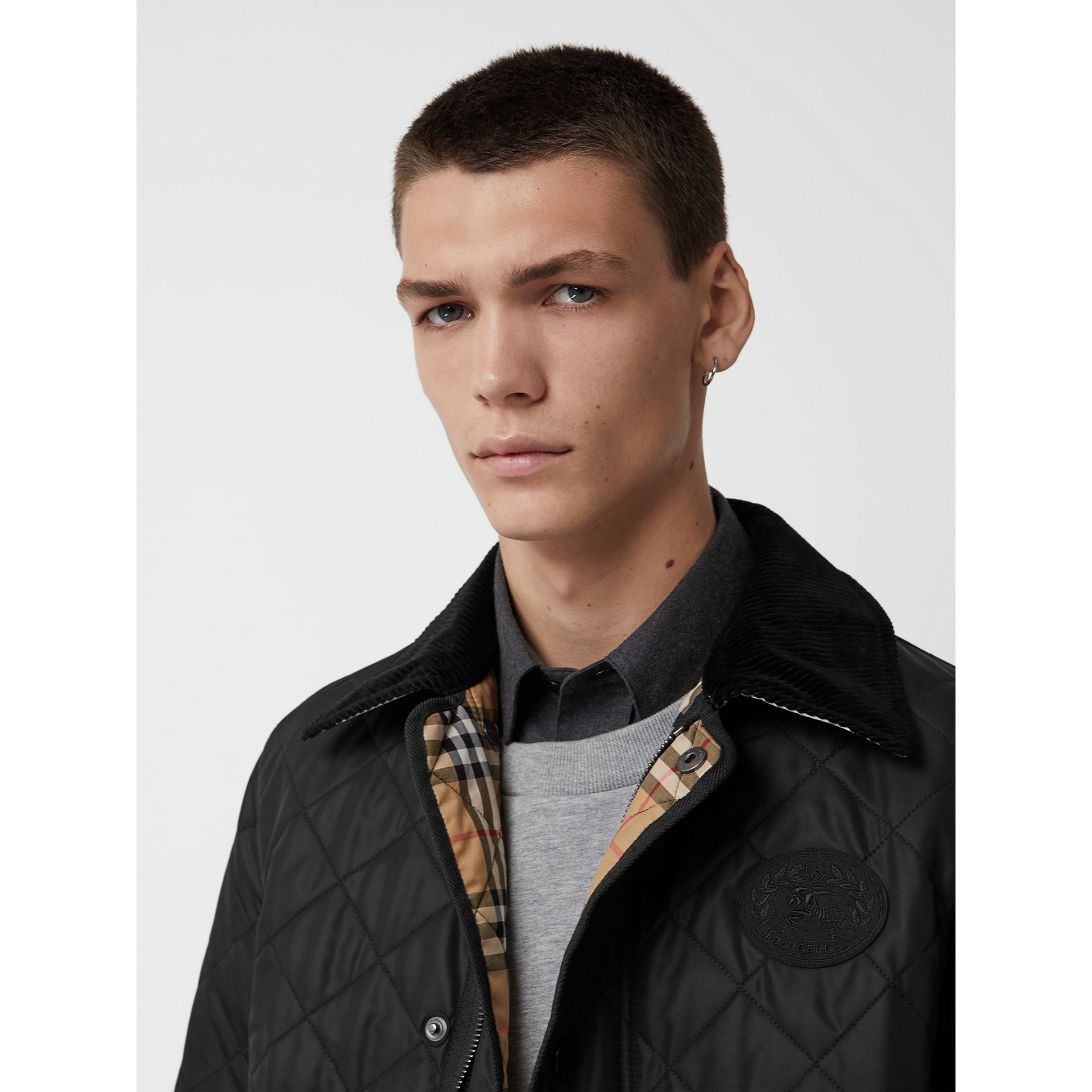 Diamond Quilted Thermoregulated Barn Jacket in Black - Men | Burberry United Kingdom - gallery image 1
