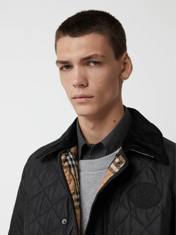 Diamond Quilted Thermoregulated Barn Jacket in Black - Men | Burberry Hong Kong - cell image 1
