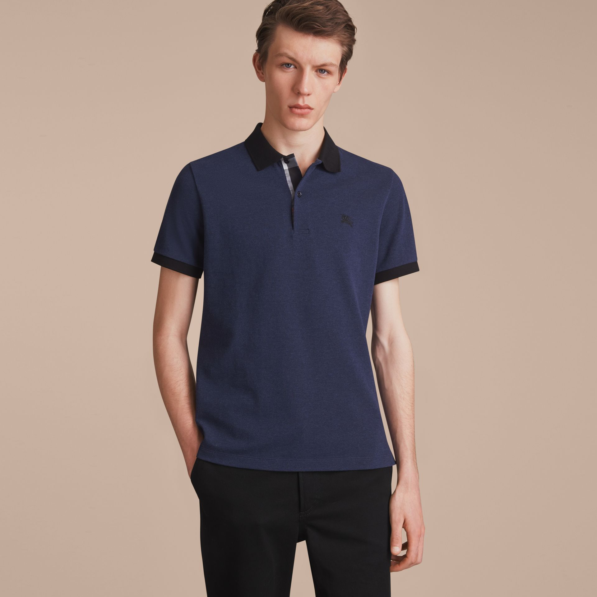 Two-tone Check Placket Cotton Piqué Polo Shirt in Navy Melange - Men | Burberry - gallery image 6