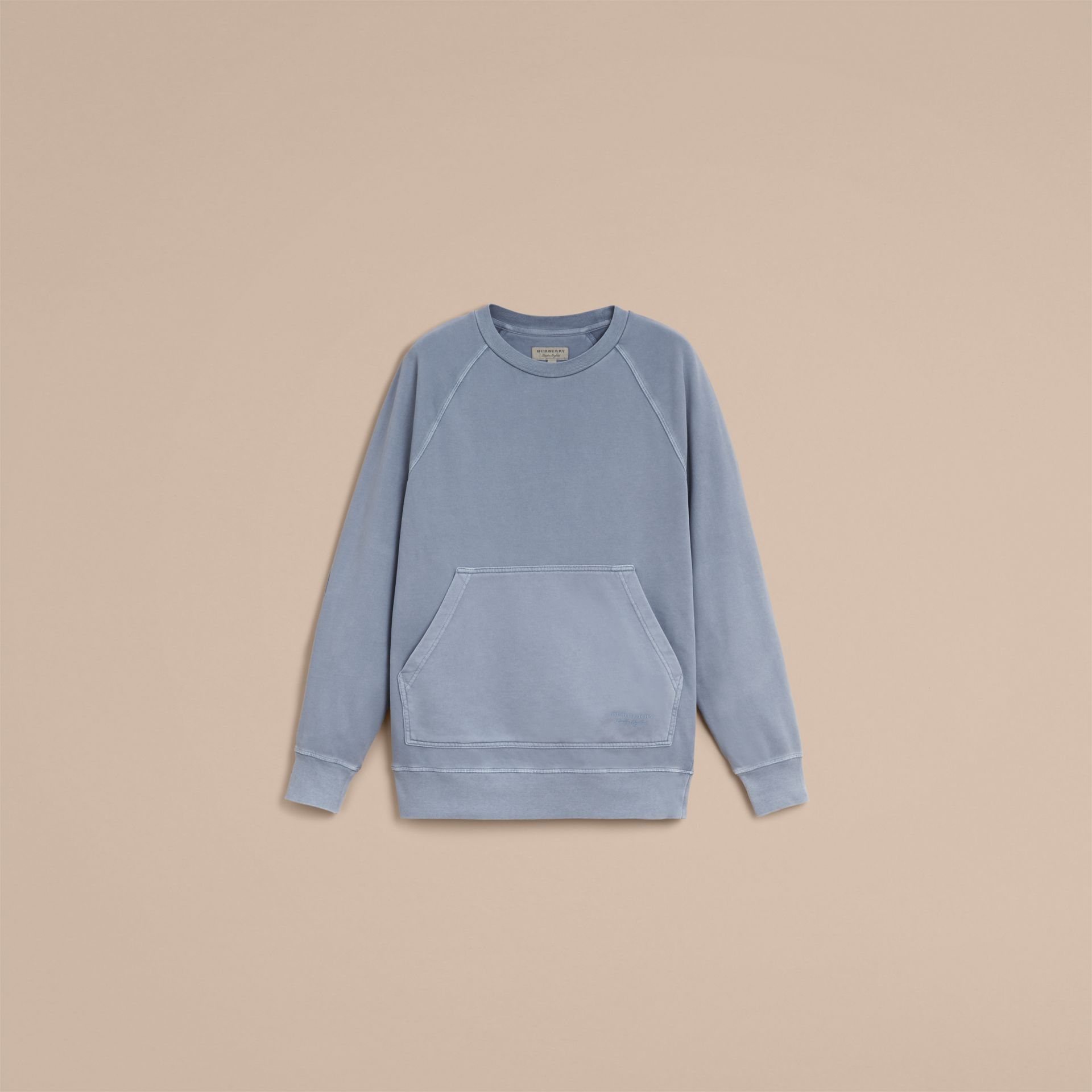 Unisex Pigment-dyed Cotton Oversize Sweatshirt in Dusty Blue - Women | Burberry - gallery image 3