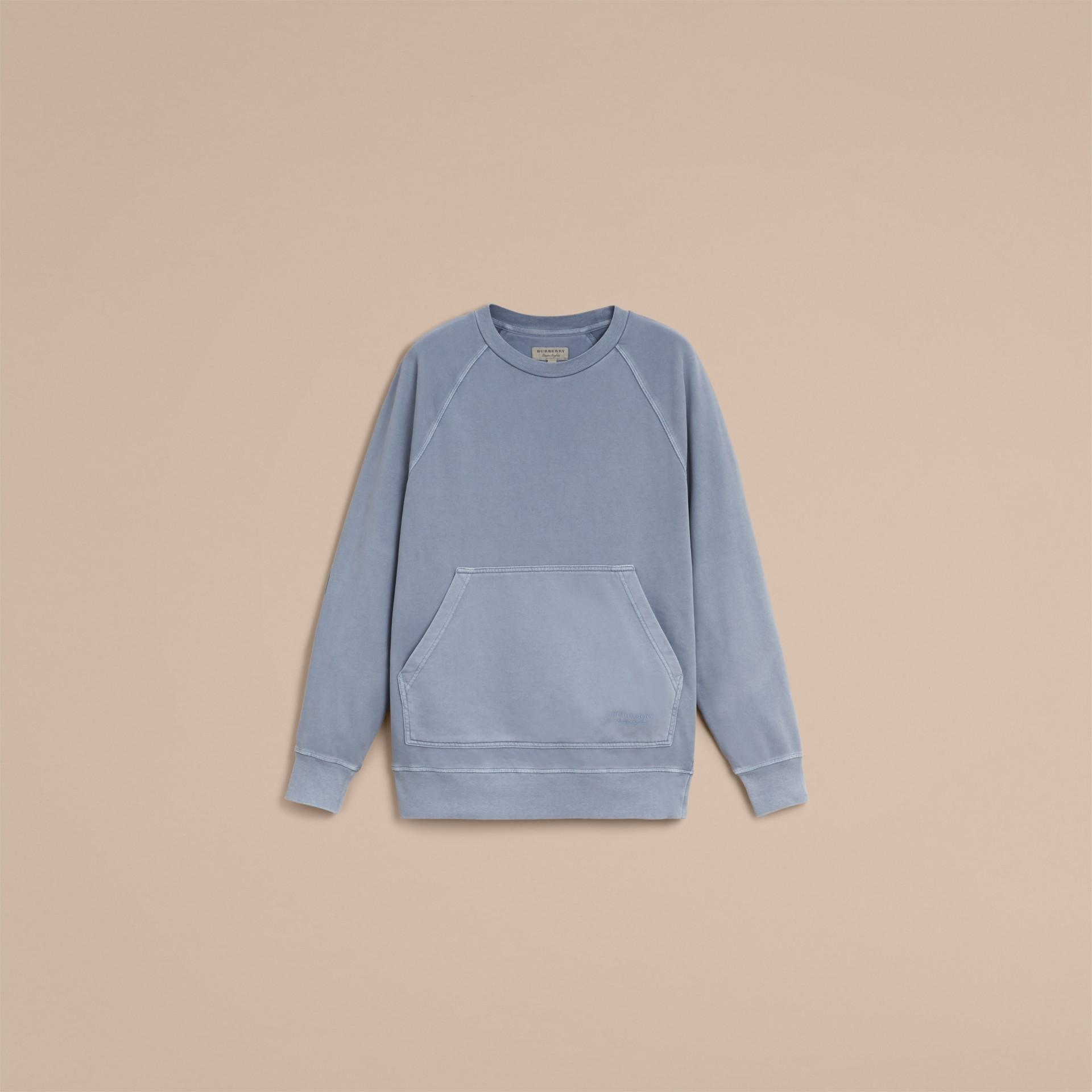 Unisex Pigment-dyed Cotton Oversize Sweatshirt in Dusty Blue - Women | Burberry Australia - gallery image 4