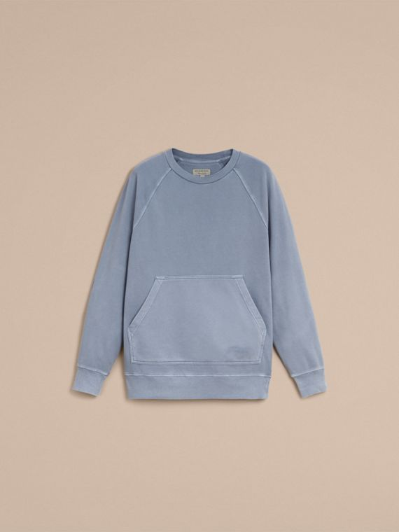 Unisex Pigment-dyed Cotton Oversize Sweatshirt in Dusty Blue - Women | Burberry Singapore - cell image 3