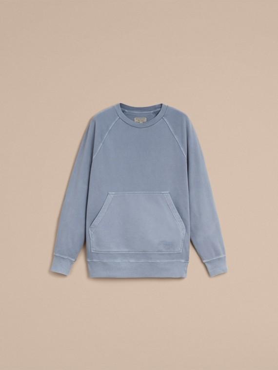 Unisex Pigment-dyed Cotton Oversize Sweatshirt in Dusty Blue - Women | Burberry Australia - cell image 3