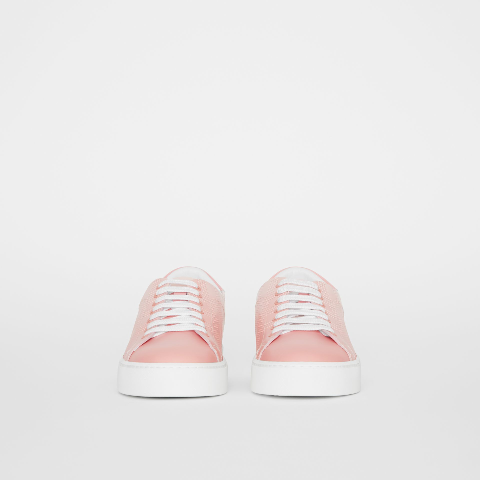 Perforated Check Dégradé Leather Sneakers in Sugar Pink - Women | Burberry Canada - gallery image 3