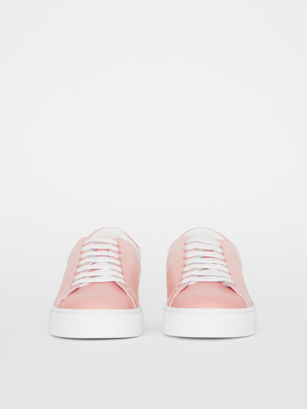 Perforated Check Dégradé Leather Sneakers in Sugar Pink - Women | Burberry United States - cell image 3