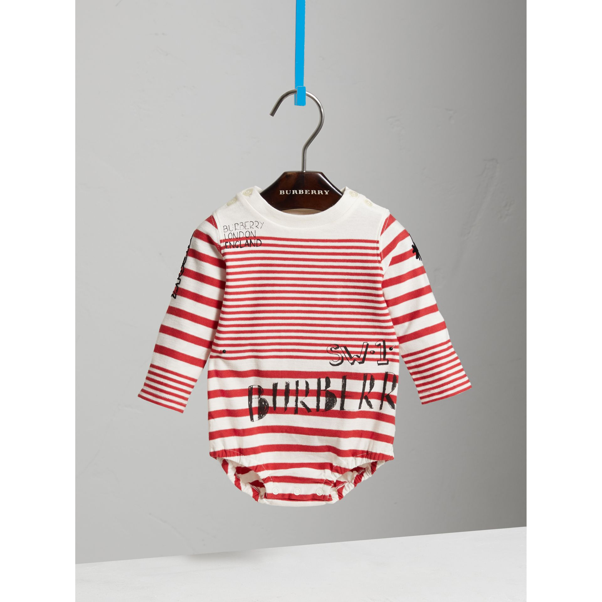 SW1 Print Striped Cotton Jersey Bodysuit in Bright Red/natural White - Children | Burberry - gallery image 0