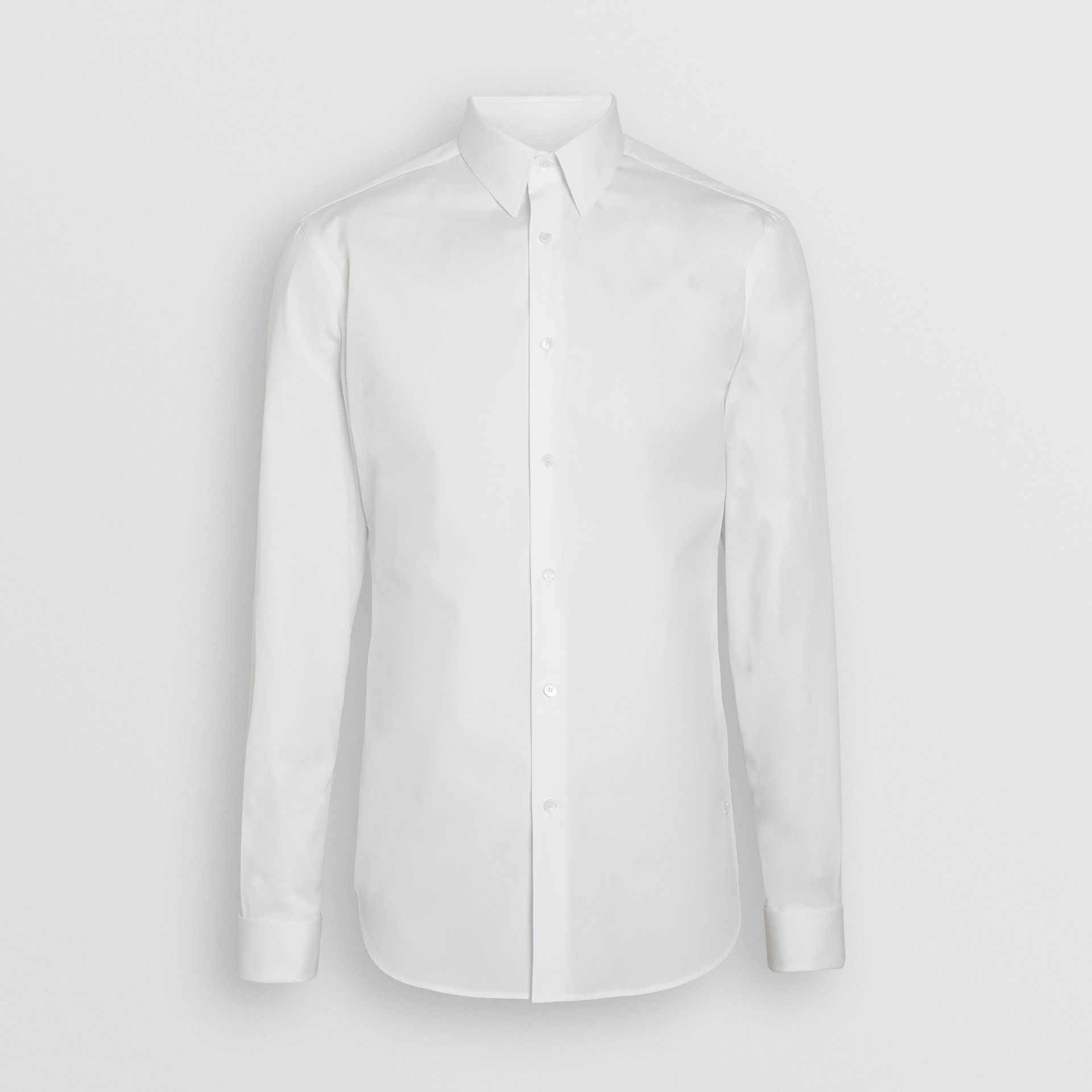 Slim Fit Double Cuff Cotton Poplin Shirt in White - Men | Burberry United Kingdom - gallery image 3