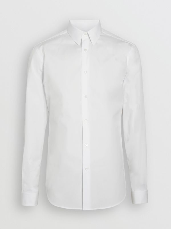 Slim Fit Double Cuff Cotton Poplin Shirt in White - Men | Burberry Hong Kong - cell image 3