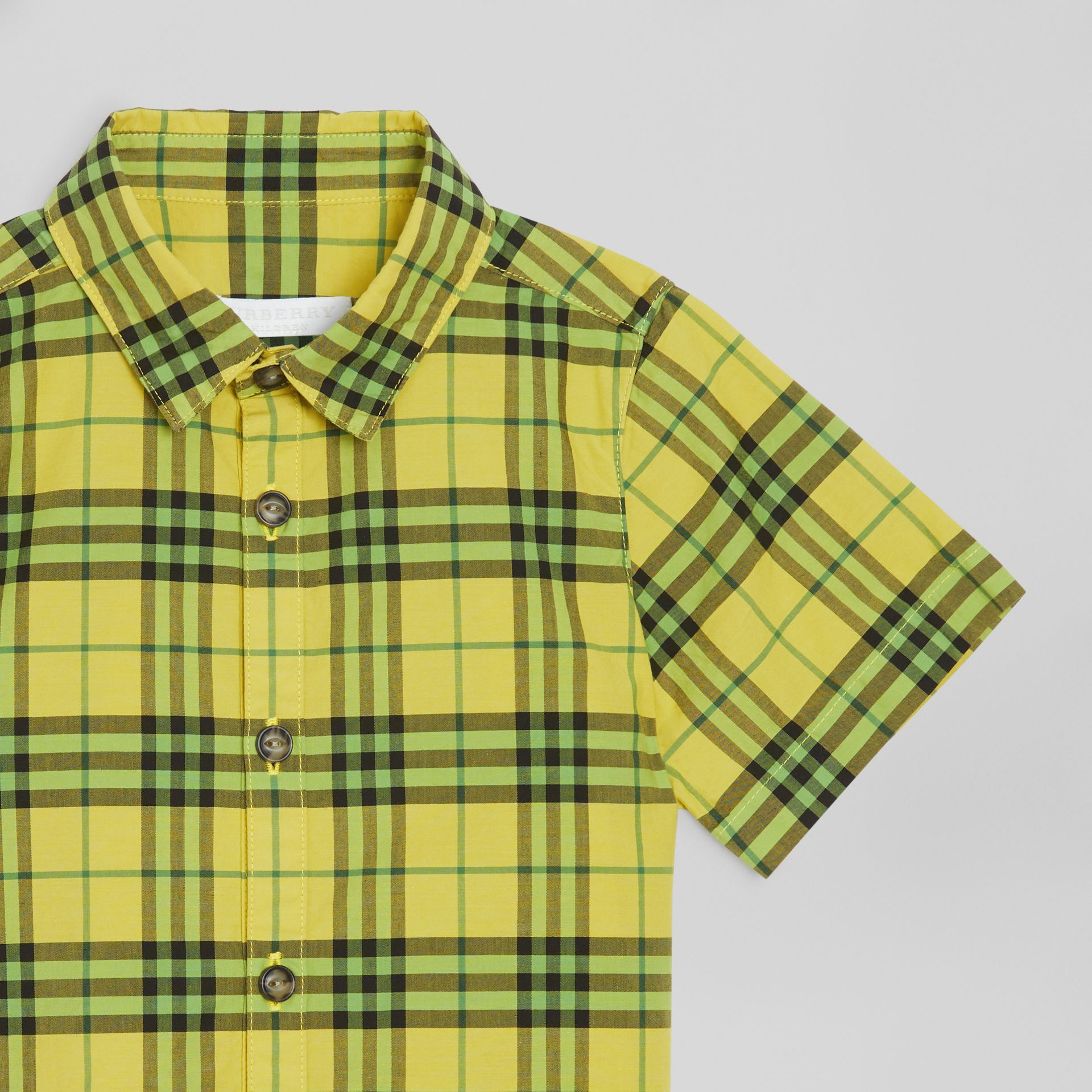 Short-sleeve Check Cotton Shirt in Citron | Burberry - gallery image 1