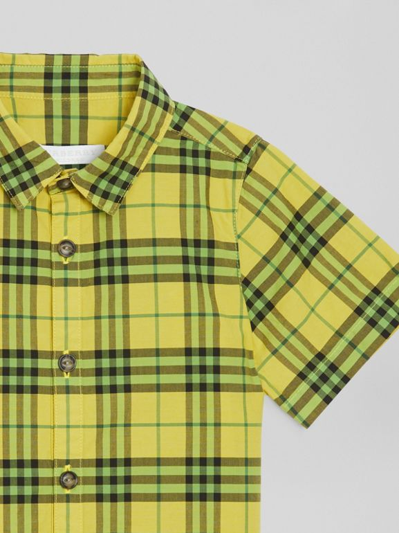Short-sleeve Check Cotton Shirt in Citron | Burberry - cell image 1