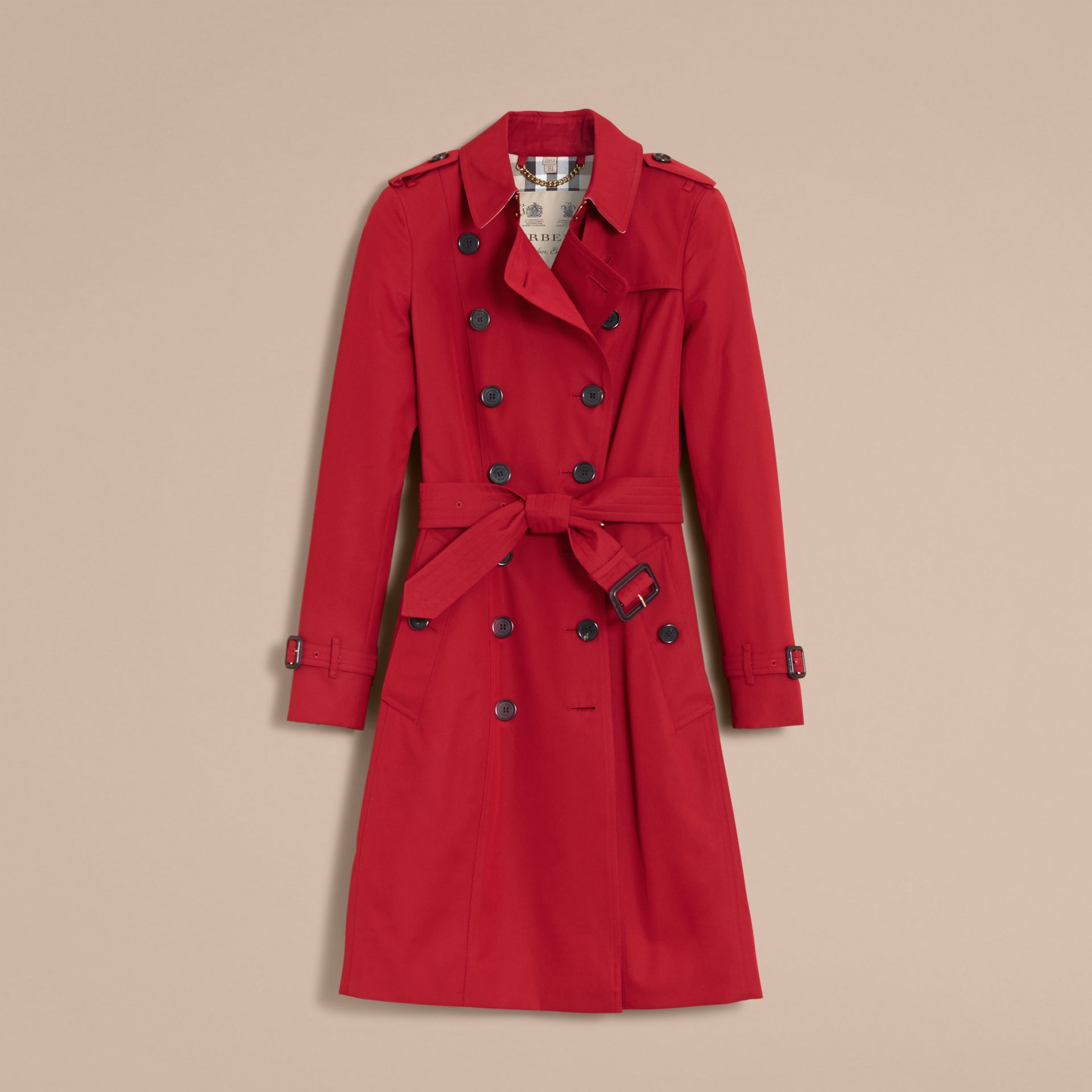 The Chelsea – Long Heritage Trench Coat in Parade Red - gallery image 4