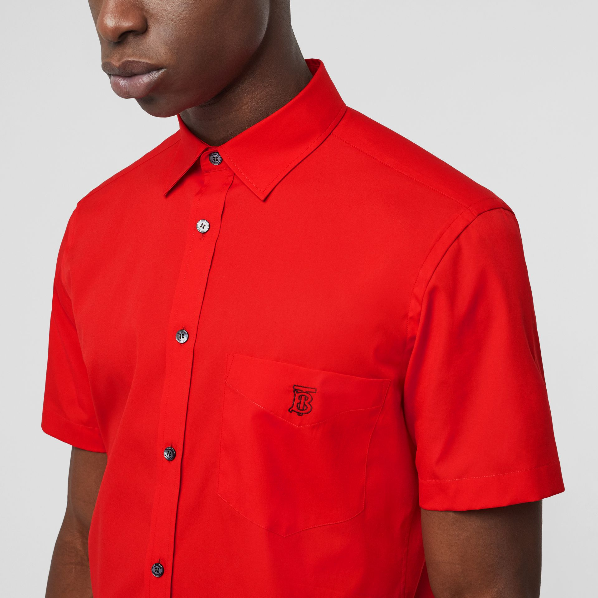 Short-sleeve Monogram Motif Stretch Cotton Shirt in Bright Red - Men | Burberry - gallery image 1