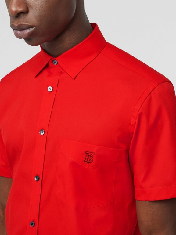 Short-sleeve Monogram Motif Stretch Cotton Shirt in Bright Red - Men | Burberry - cell image 1