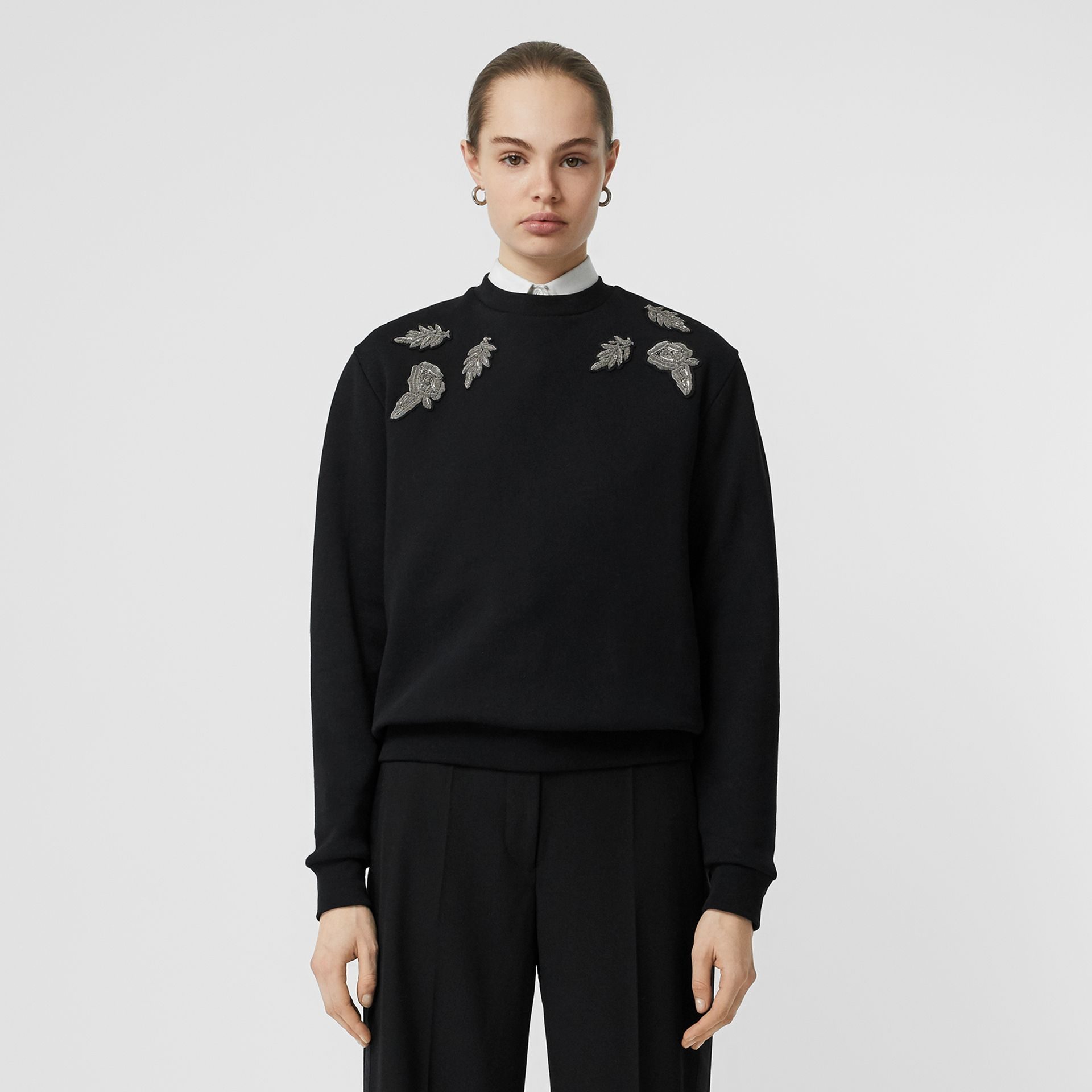 Bullion Floral Cotton Blend Sweatshirt in Black - Women | Burberry - gallery image 6