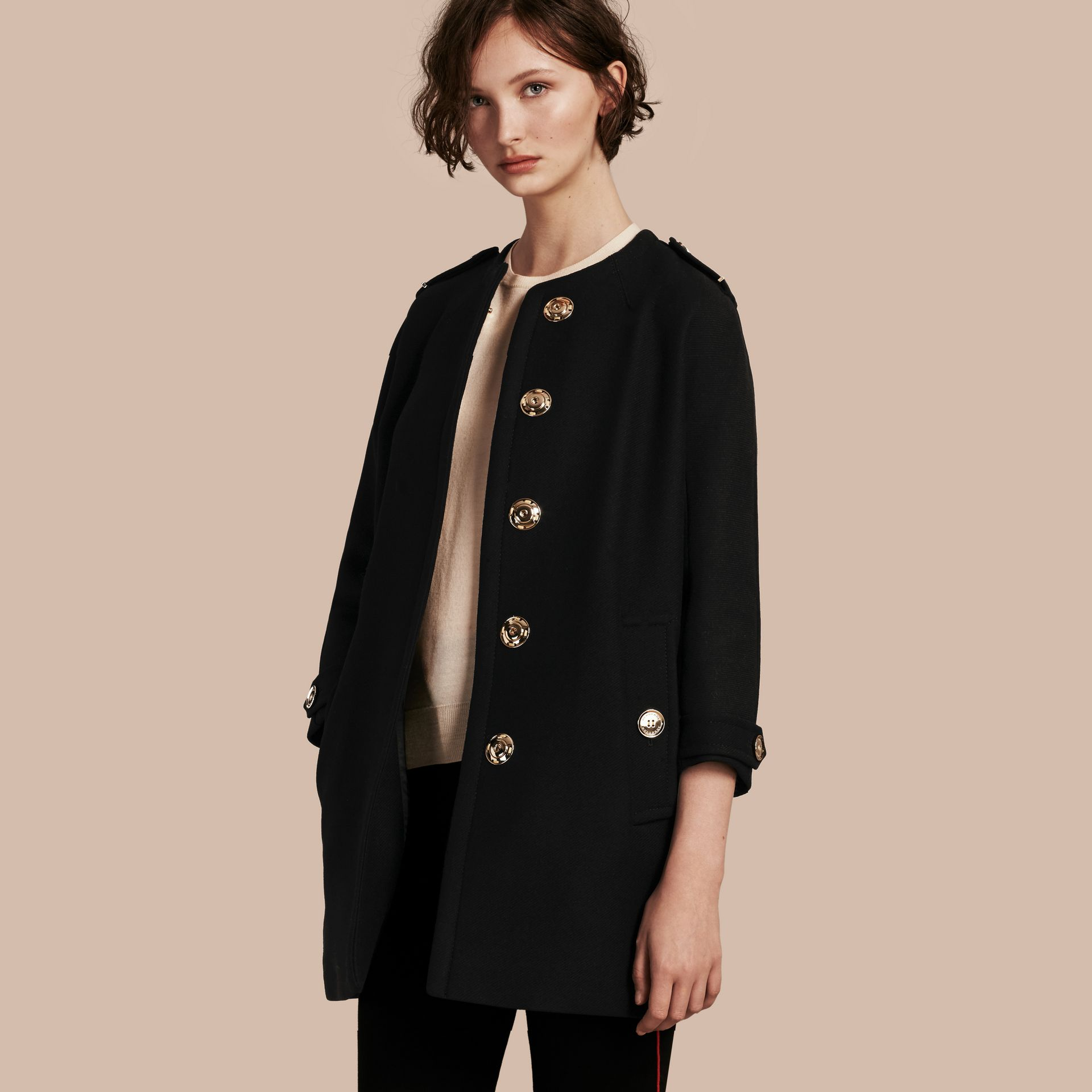 Technical Wool Cashmere Collarless Coat in Black - gallery image 1